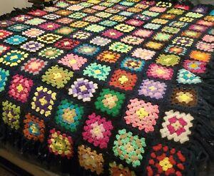 "Vintage Granny Square Hand Crocheted Blanket Afghan Throw Black 65"" x 50"""