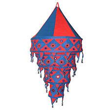 Pantalla lámpara India 90 cm rojo azul algodón decoración oriental iluminar