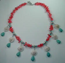 Statement Coral Shell & Turquoise Teardrop Howlite Necklace Beach Wedding