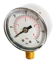 Pressure Gauge 0/60 PSI & 0/4 Bar 50mm Dial 1/4 BSPT Bottom connection.