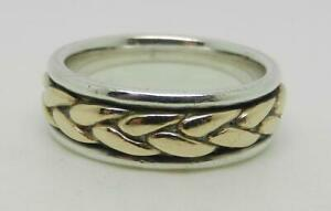 JAMES AVERY RETIRED STERLING 14K GOLD BRAIDED BAND RING SIZE 5.5 - LB-C2324