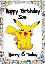 personalised birthday card Pokemon Pikachu any name/age/relation