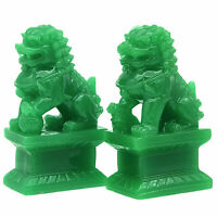 Jade Green Foo /Fu Dogs Imperial Guardian Lion Statues Home Office Decoration