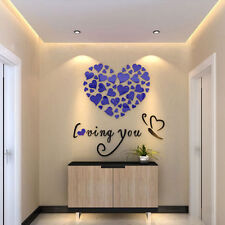 Hot Lovely Mirror Hearts Home 3D Wall Stickers Decor DIY Decal Removable New