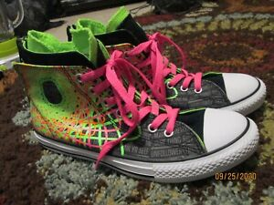 "Converse Junior/ Youth High Top Zip Back Double Tongue Neon w/ ""Yo Tag Me"" Sz 5"