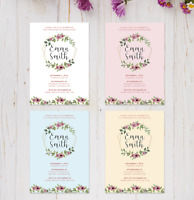 Personalised Floral Baby Christening Invitations & Thank You Cards | Boy or Girl