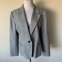 PENDLETON Women's Lined Virgin Wool One Button Blazer SIZE 14 Gray Plaid