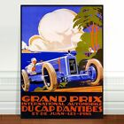 "Vintage Auto Racing Poster Art ~ CANVAS PRINT 8x10"" Grand Prix D'Antibes"