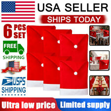 Christmas Chair Cover Santa Hat Table Decoration Dining Room Winter Decor 6PCS