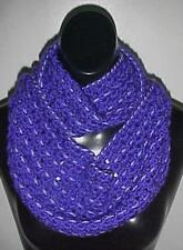 Hand Crochet Loop Infinity Circle Scarf/Neckwarmer #139 Purple/Lavender New