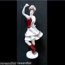 Hollohaza Hungary hand painted tall figurine of dancing girl. FREE SHIPPING