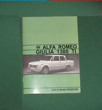 Uso e manutenzione Alfa Romeo Giulia 1300 TI ... Owner's manual entra!!