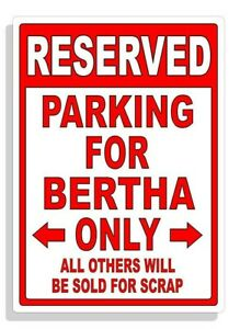 Personalized Parking Sign Wall Decal Metal Sign No Parking Customized for Bertha