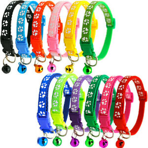 Paw Print Adjustable Kitten Puppy Collar With Bell - 19 - 32cm - Free Postage