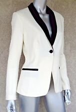 $89 CHARTER CLUB NEW Ivory Black Trim Long Sleeves V-Neck Jacket Blazer Sz 8