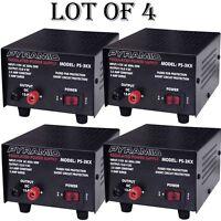 4 LOT) Pyramid PS3KX 3Amp 12Volt DC Power Supply for Phones CB HAM Radio Scanner