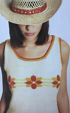 KNITTING PATTERN Ladies Sleeveless Top Flower Design Poppy Sirdar PATTERN