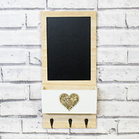 Rustic Heart Chalk Memo Notice Black Board Letter Rack Key Coat Hooks Rack Home