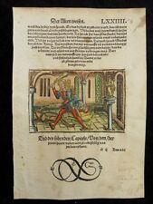 BUCH DER WEISHEIT FABEL INKUNABEL HOLZSCHNITT GRÜNINGER 1501 HUND SCHLANGE J52