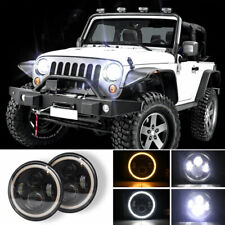 "2pcs 7"" Inch Round LED Headlights Halo Angle Eyes For Jeep Wrangler JK LJ TJ CJ"