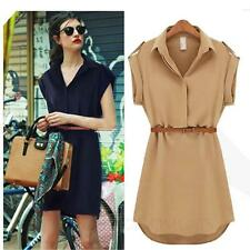 Witer womens office wear Collared Ladies Shirt short sleeve Party Dress UK Size