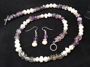 Sterling Silver Cultured Freshwater Pearl And Fluorite Necklace Earrings Set