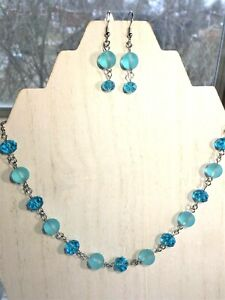 Sea Glass Jewelry Set w/ Aqua Blue Beaded Glass Necklace & Earrings