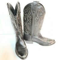 """Brahma Western Cowboy Leather Metal Tip Toe boots women's size 8D """"Made in USA"""""""