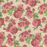 FLORAL MELODY MAUVE ROSE FLORAL ON PINK Cotton Fabric BTY for Quilting Craft Etc