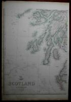 Scotland United Kingdom c.1860 Weller huge map in 4 sheets wall size hand color