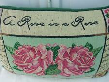 """Tapestry Accent Pillow A Rose is a Rose Green Mauve Pink Roses Rectangular 17"""""""