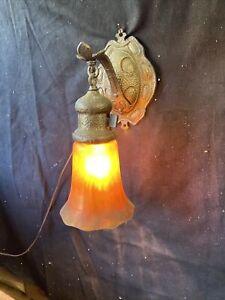 "Arts & Crafts MISSION SCONCE Art Nouveau Cast Hammered LIGHT Lamp Iridescent 12"""