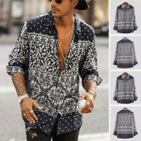 Men's Bohemian Floral V Neck Long Sleeve Shirt Tee Loose Casual Hippy Top Blouse