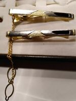 Vintage Gold Tone - Black Rhinestone Tie Clips with Button Chain for Men (2)