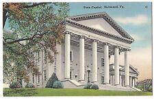 STATE CAPITOL Building in  Richmond VA Vintage Postcard Virginia Linen 1960