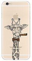 Coque gel souple incassable motif fantaisie pour iPhone SE (Girafe)