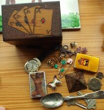 Junk Drawer Lot Naughty Bikini Lenticular Lighter Card Box Egyptian Pyramid etc
