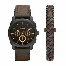 Fossil Men's Machine Chrono Quartz Leather Chronograph Watch, Color: Black,