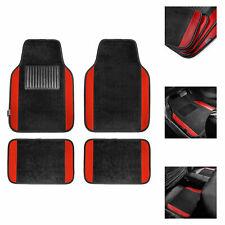 4pcs Carpet Floor Mats for Car Auto SUV Van Motors Full Set Red Black