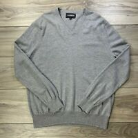 Express Men's Gray Long Sleeve V-Neck Pullover Sweater Italian Merino Wool Sz XL