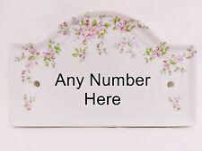 Regency Giardino Casa Porta Placca Segno fiori rosa ceramica numero qualsiasi disponibile