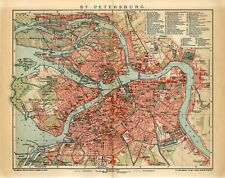 1905 RUSSIA ST.PETERBURG CITY PLAN Antique Map dated