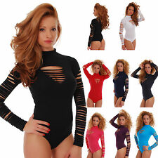 7c78cd28d4 Cotton Women Bodysuit Exclusive Long Sleeve mock Thong S-3XL Leotard Blouse  1339
