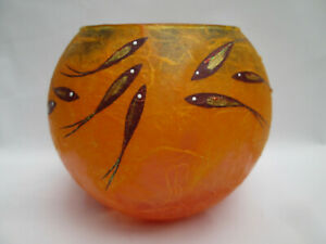 Beautiful Orange Glass Tea Light Candle Holder with Fish Design + Candle