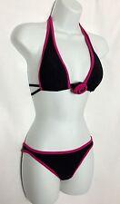 NWOT GOTTEX Black & Hot Pink Bikini 2 Piece Swimsuit Size 12 Retail $148