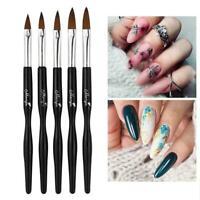 5X Sable Acryl Nail Art UV Gel Schnitzbürste Glitter Set Werkzeuge Pen K8G2