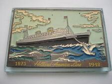 1873-1948 HOLLAND AMERICA LINE SOUVENIR ANNIVERSARY GLASS DESK PAPERWEIGHT