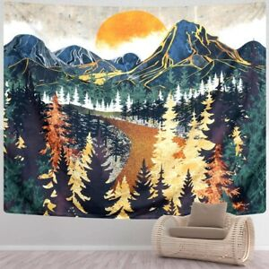 Nature Mountain Tapestry Forest Tree Wall Hanging Sunset Landscape Room Decor