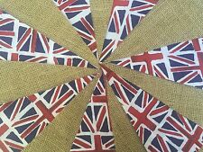 handmade union jack fabric and hessian bunting. 10ft 10 flags