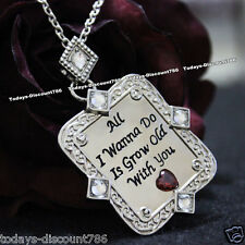 UNUSUAL LOVE HEART DIAMOND QUOTE NECKLACE WIFE LADY WOMEN VALENTINE GIFT FOR HER